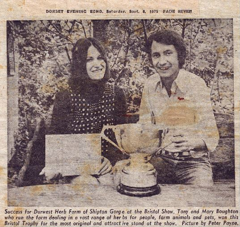 1975; Mary & Tony win most orignal and atractive trade stand at the Bristol Show