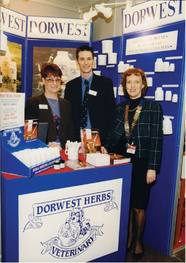 1991; Mary and Roly Boughton with the President of the BSAVA at their congress in Birmingham.