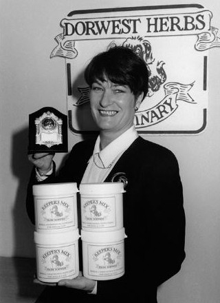 1994; Mary celebrating following the successful launch of Keepers Mix and also winning best trade stand at Crufts!