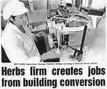1995; The creation of Dorwest Production was covered in the Dorset Echo. Photo is of Heather Bishop who is our Production Operations Manager