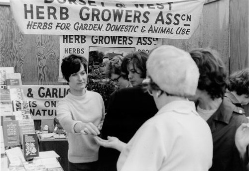 1968; Mary busy on the trade stand at the Harrogate Show in Yorkshire