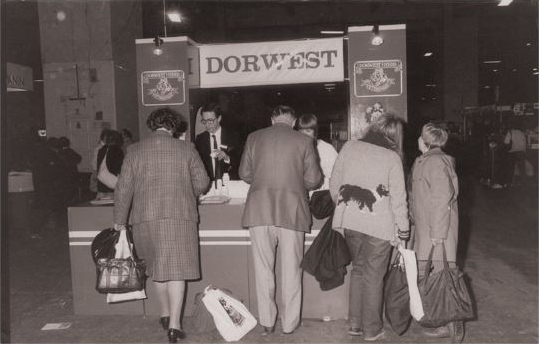 1989; Tony on the trade stand at Crufts, whilst it was still being held at Earls Court, London