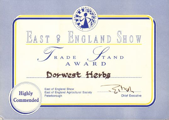1995; Trade Stand award at the East of England Show.