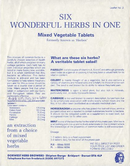 1984; Leaflet on Mixed Vegetable Tablets 'Six Wonderful Herbs in one'