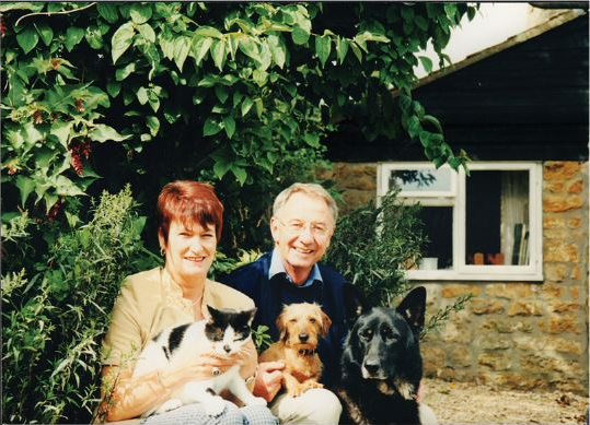 1995; Photo of Mary & Tony with their pets Ozric the German Shepherd, Sidney the Dachshund and Linford the moggy